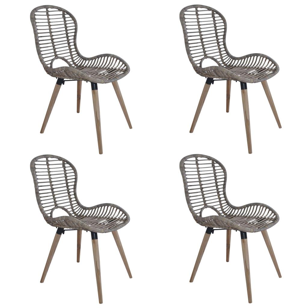 vidaXL Zahradní jídelní židle 4 ks přírodní ratan 48x64x85 cm hnědé