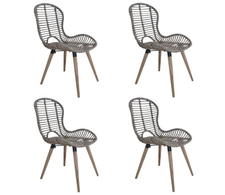 vidaXL Dining Chairs 4 pcs Brown Natural Rattan
