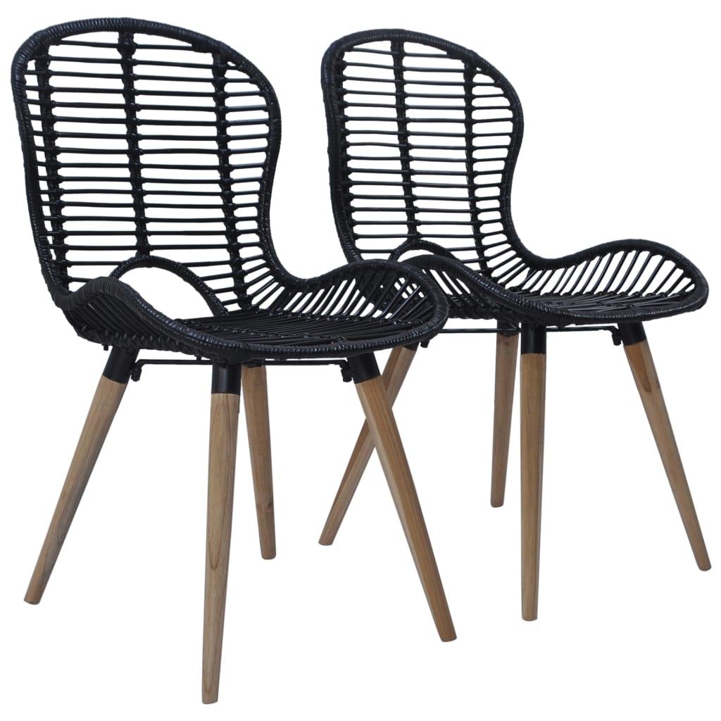 Détails sur vidaXL 2x Chaise de Jardin Résine Tressée Noir Terrasse Patio  Salon de Jardin