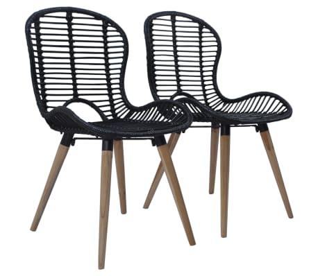 Détails sur vidaXL 2x Chaises de Salle à Manger Rotin Naturel Noir Salon Cuisine Maison