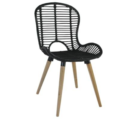 vidaXL Dining Chairs 2 pcs Black Natural Rattan[3/7]