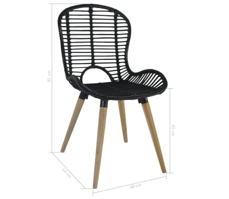 vidaXL Dining Chairs 2 pcs Black Natural Rattan[7/7]