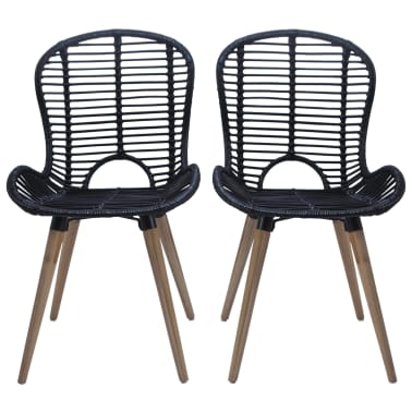 vidaXL Dining Chairs 2 pcs Black Natural Rattan[2/7]