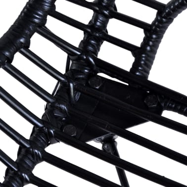 vidaXL Dining Chairs 2 pcs Black Natural Rattan[5/7]