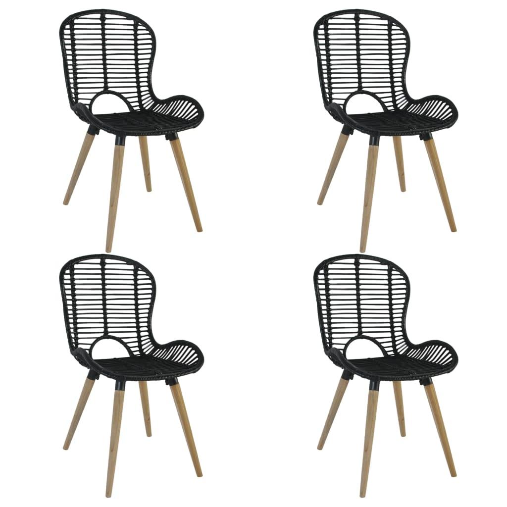 Stohovatelné zahradní židle 4 ks přírodní ratan černé