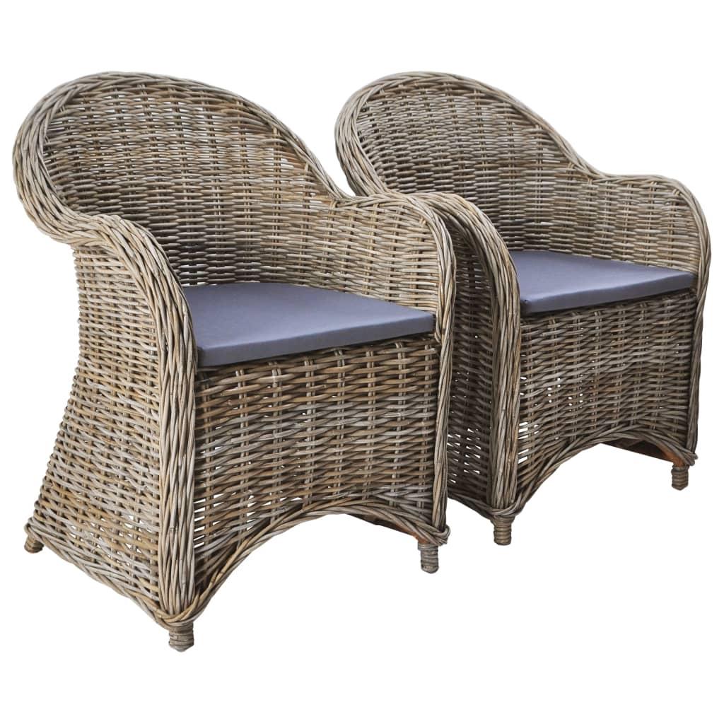 Zahradní židle 2 ks s poduškami přírodní ratan