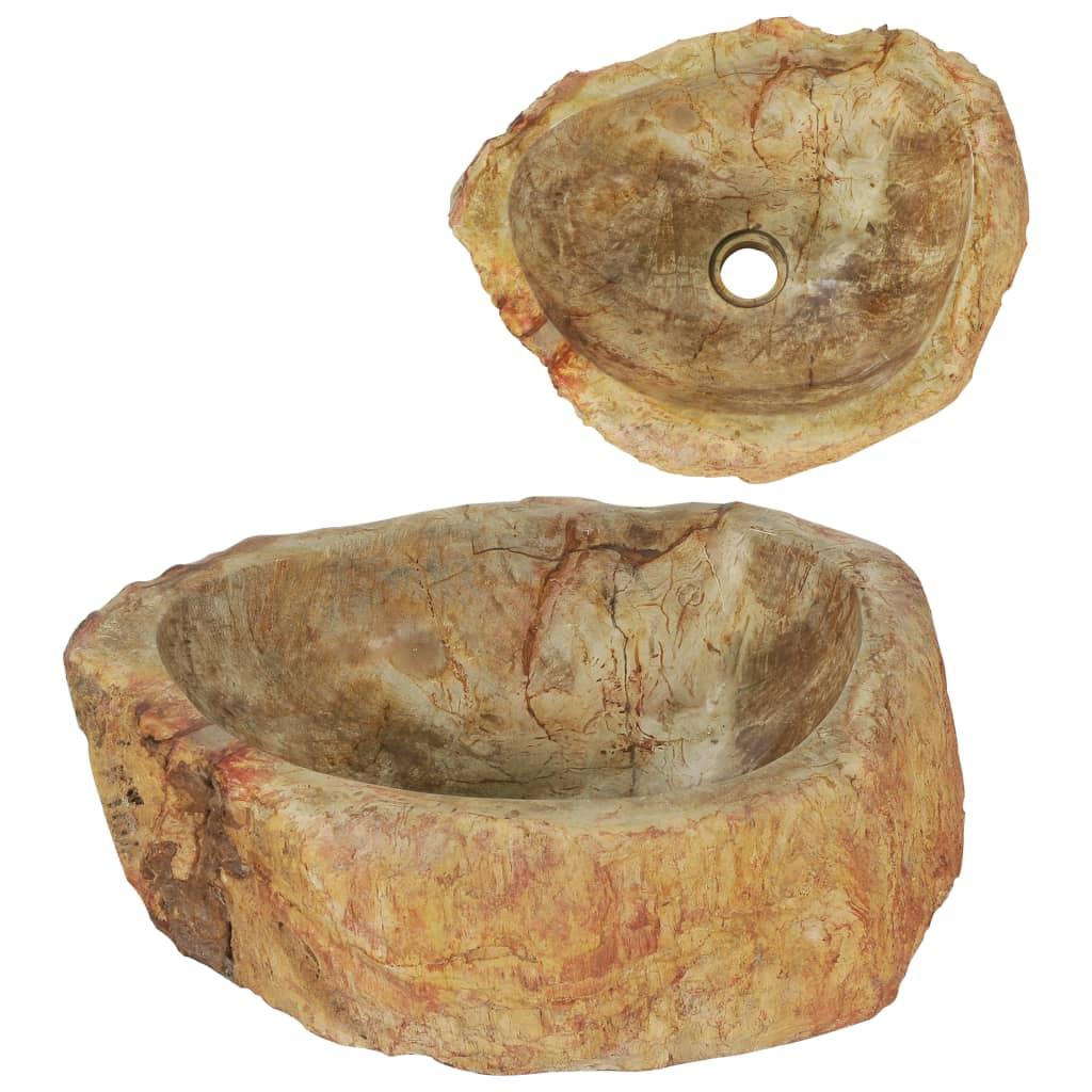 vidaXL Chiuvetă, crem, 45 x 35 x 15 cm, piatră fosilă poza 2021 vidaXL
