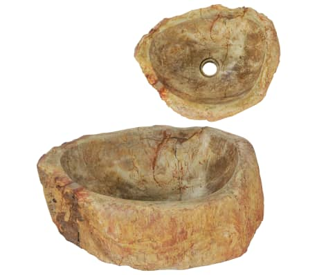 vidaXL Sink 45x35x15 cm Fossil Stone Cream