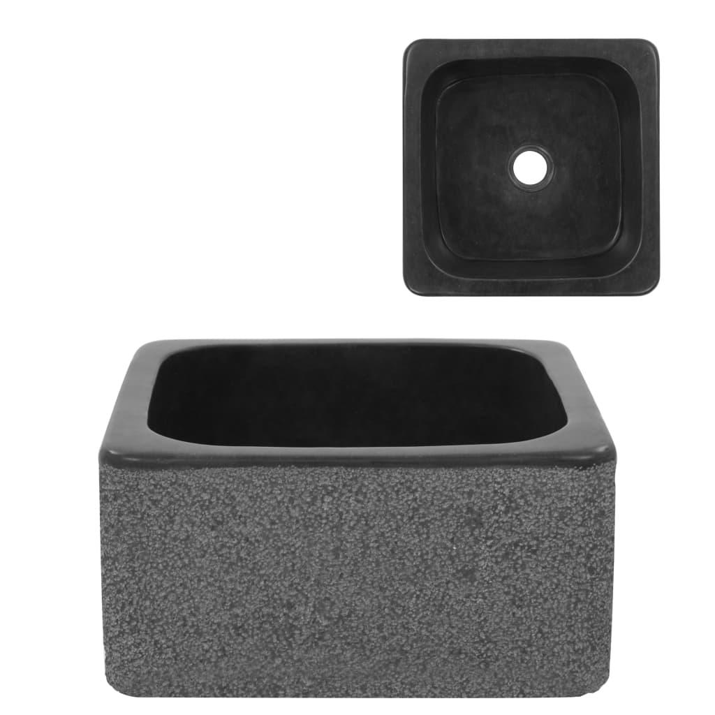 vidaXL Chiuvetă, negru, 30 x 30 x 15 cm, piatră de râu poza vidaxl.ro