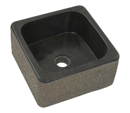 vidaXL Umývadlo 30x30x15 cm, riečny kameň, čierne[2/7]