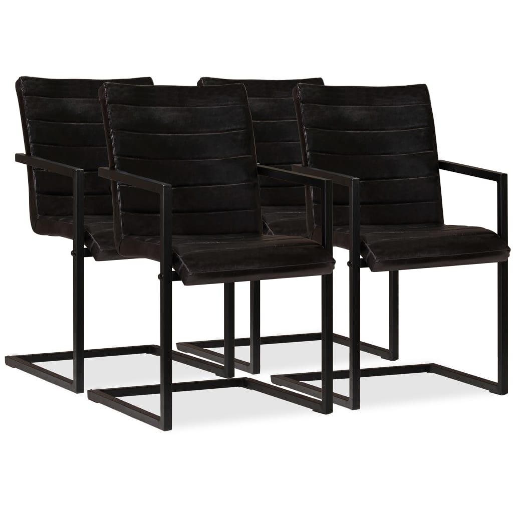 vidaXL Καρέκλες Τραπεζαρίας 4 τεμ. Ανθρακί από Γνήσιο Δέρμα