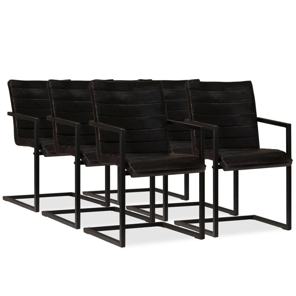 vidaXL Jídelní židle 6 ks z pravé kůže antracitové