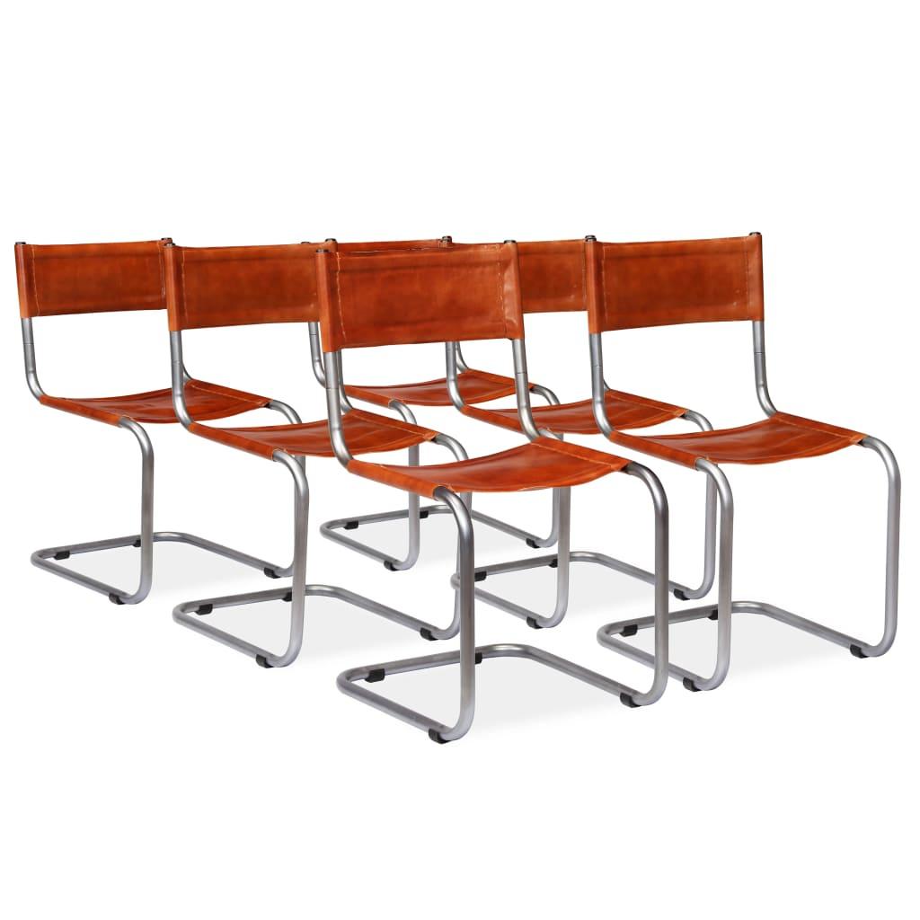 vidaXL Jídelní židle 6 ks z pravé kůže hnědé