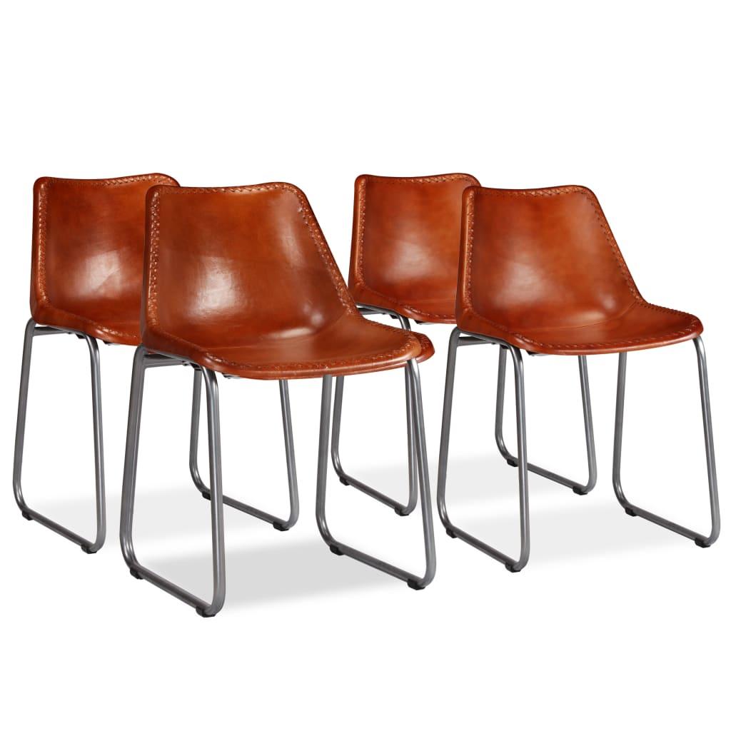 vidaXL Jídelní židle 4 ks z pravé kůže hnědé