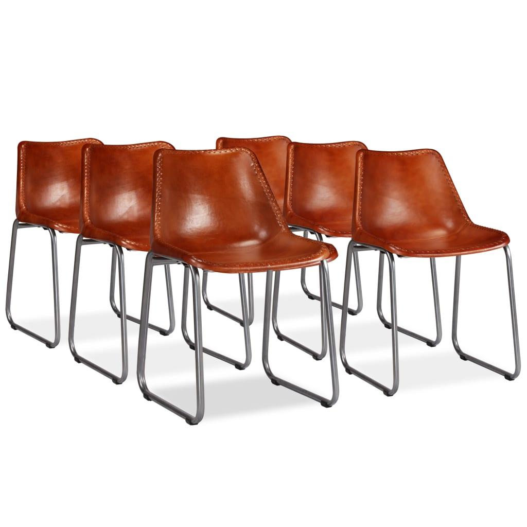 vidaXL Καρέκλες Τραπεζαρίας 6 τεμ. Καφέ από Γνήσιο Δέρμα