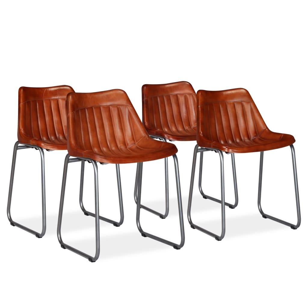 vidaXL Καρέκλες Τραπεζαρίας 4 τεμ. Καφέ από Γνήσιο Δέρμα με Ρίγες