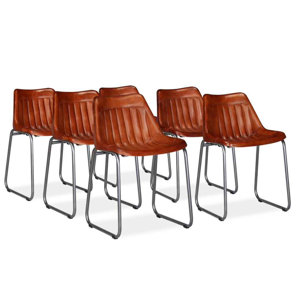 vidaXL Καρέκλες Τραπεζαρίας 6 τεμ. Καφέ από Γνήσιο Δέρμα με Ρίγες