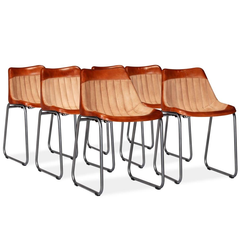vidaXL Καρέκλες Τραπεζαρίας 6 τεμ. Καφέ/Μπεζ Γνήσιο Δέρμα/Καραβόπανο