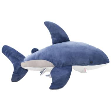 vidaXL Tiburón blanco de peluche azul y blanco[2/5]