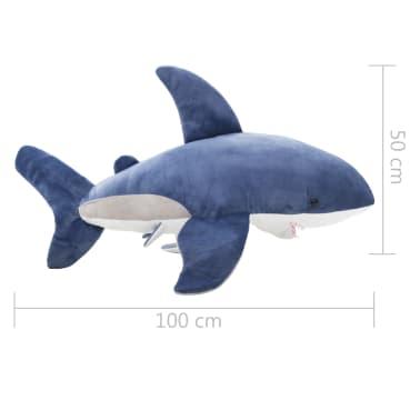 vidaXL Tiburón blanco de peluche azul y blanco[5/5]