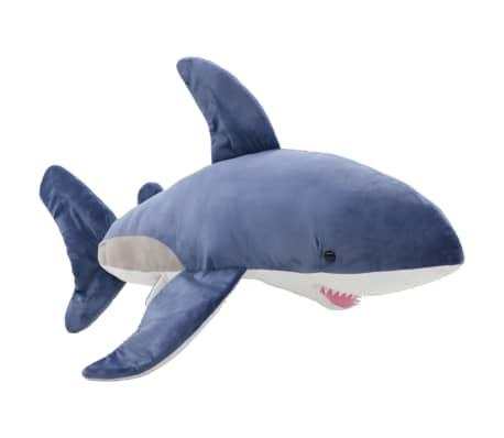 vidaXL Pluszowy rekin biały przytulanka, niebiesko-biały