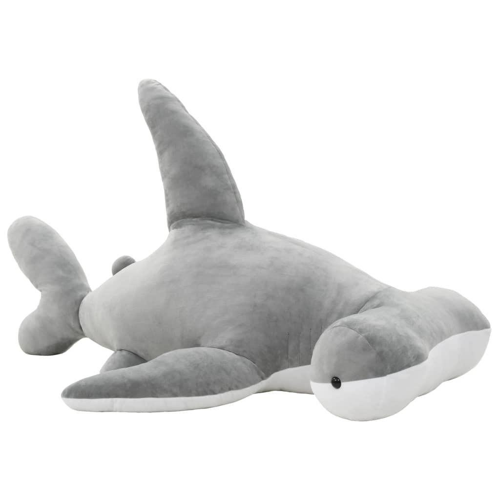 vidaXL Plyšový žralok kladivoun k mazlení šedý