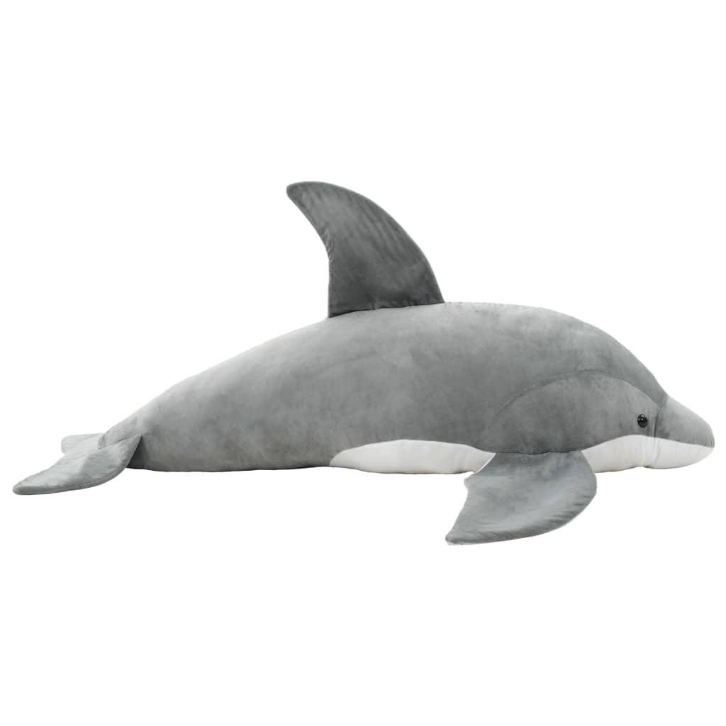 vidaXL Delfin de jucărie, gri, pluș vidaxl.ro