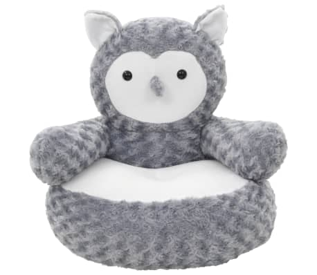 vidaXL Owl Cuddly Toy Plush Grey