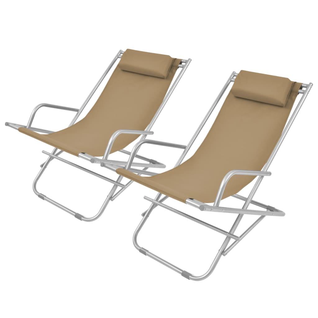 vidaXL Polohovatelné zahradní židle 2 ks ocel taupe