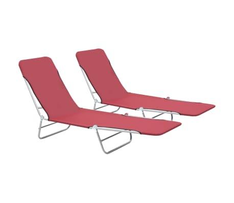 vidaXL Șezlonguri de plajă pliabile, 2 buc., roșu, oțel & textil