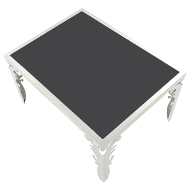 vidaXL Mirrored Coffee Table Stainless Steel and Glass 80x60x44 cm[2/6]