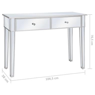vidaXL Veidrodinis konsolinis staliukas, MDF ir stik., 106,5x38x76,5cm[8/8]