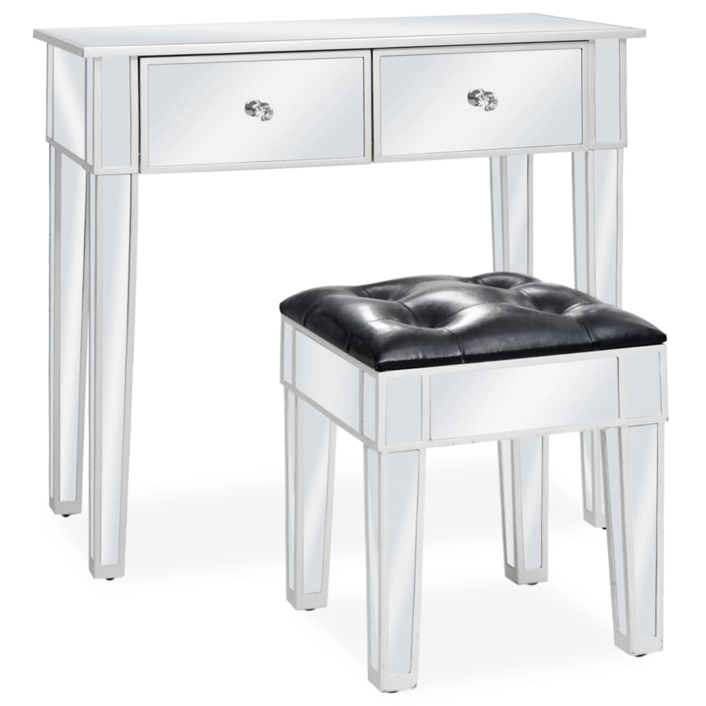Zrcadlový toaletní stolek se stoličkou MDF a sklo