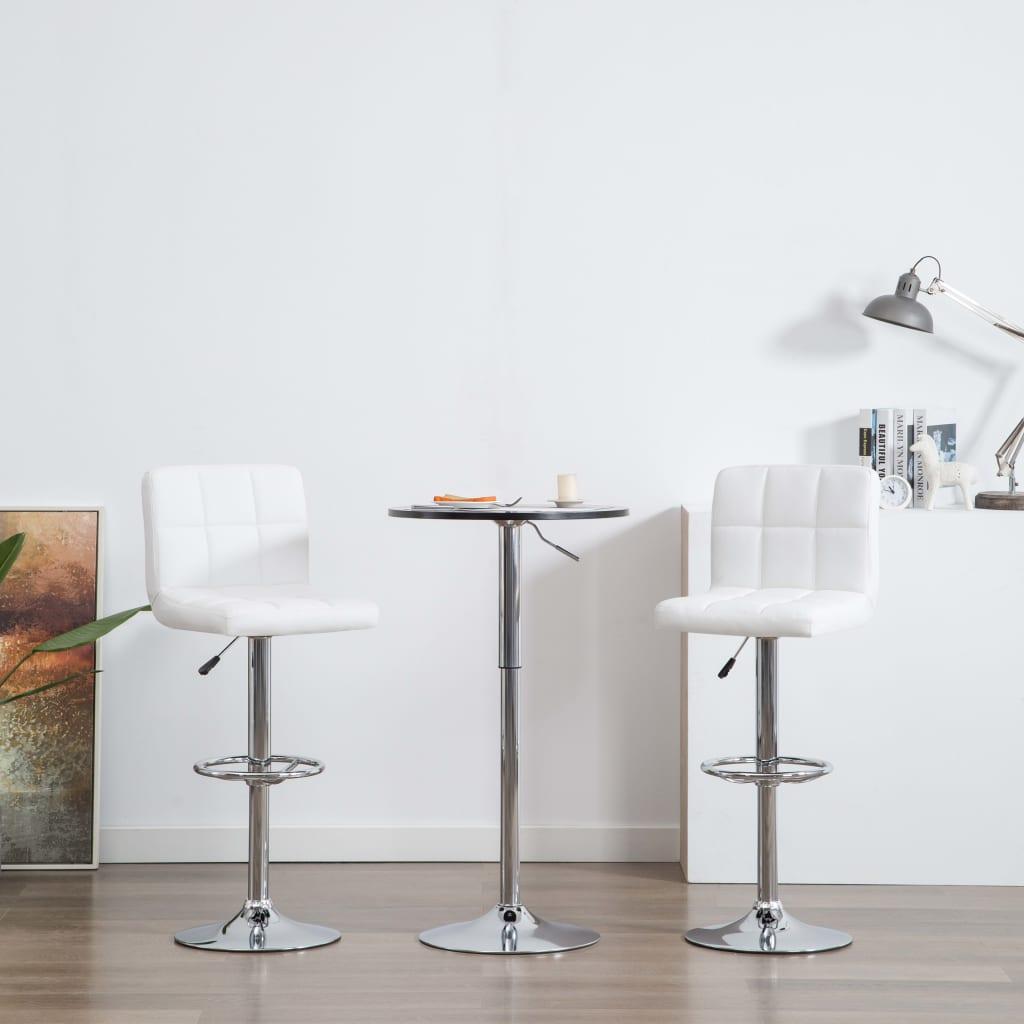 vidaXL Barové židle 2 ks z umělé kůže bílé