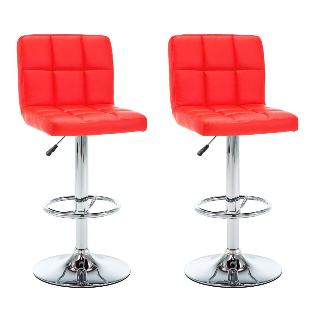 Vidaxl 2x Chaise De Bar Similicuir Rouge Bistro Cuisine