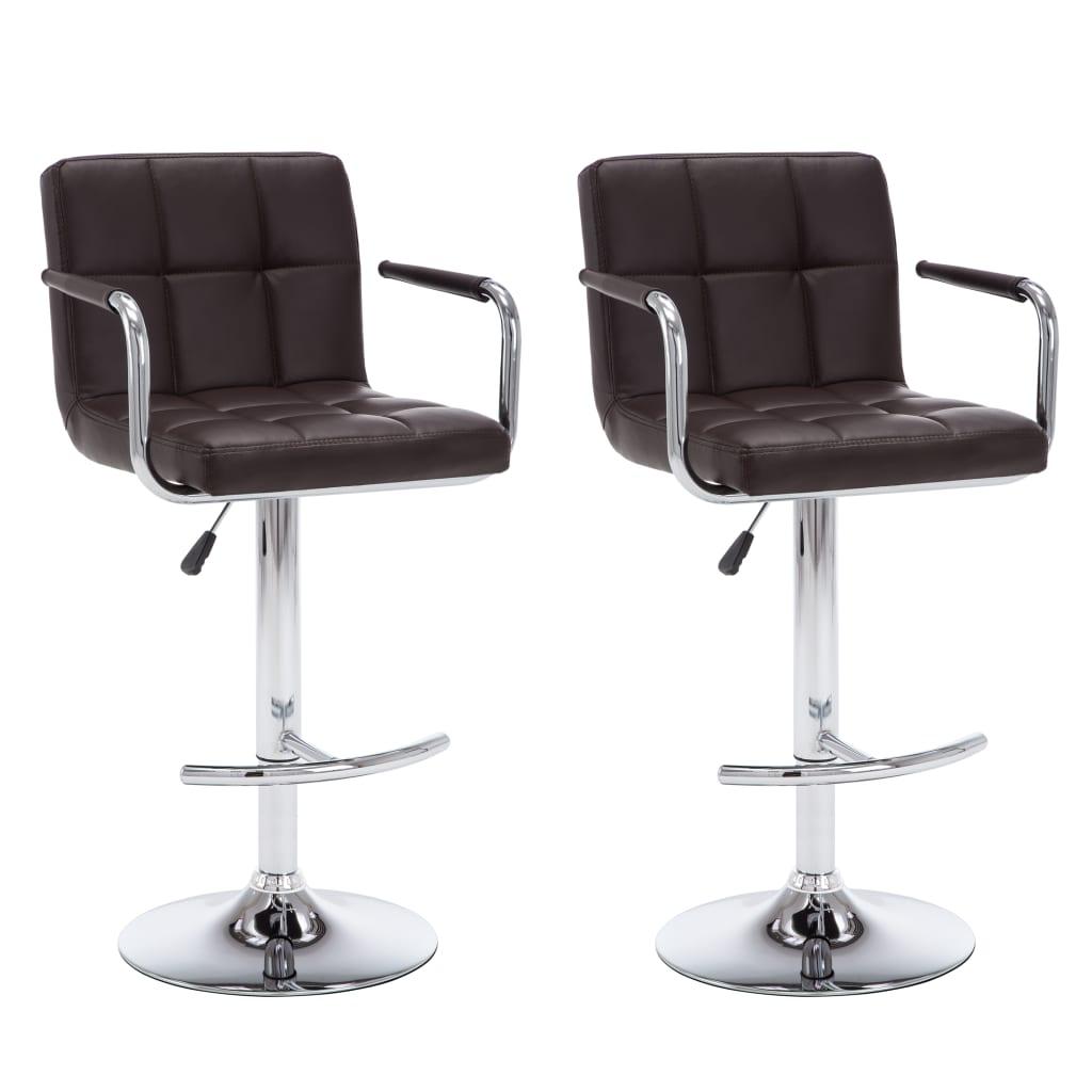 vidaXL Καρέκλες Μπαρ με Μπράτσα 2 τεμ. Καφέ από Συνθετικό Δέρμα