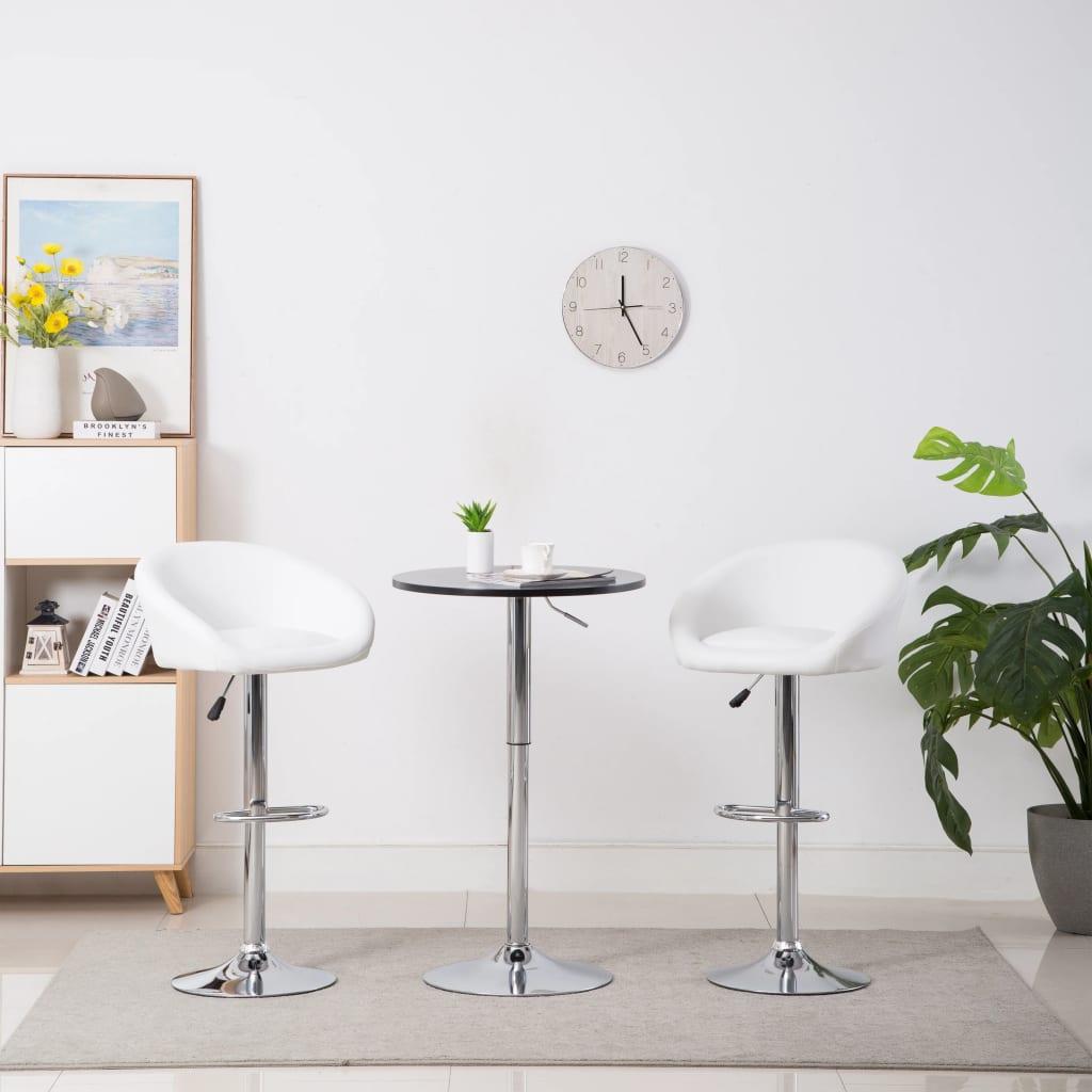 vidaXL Καρέκλες Μπαρ 2 τεμ. Λευκές από Συνθετικό Δέρμα