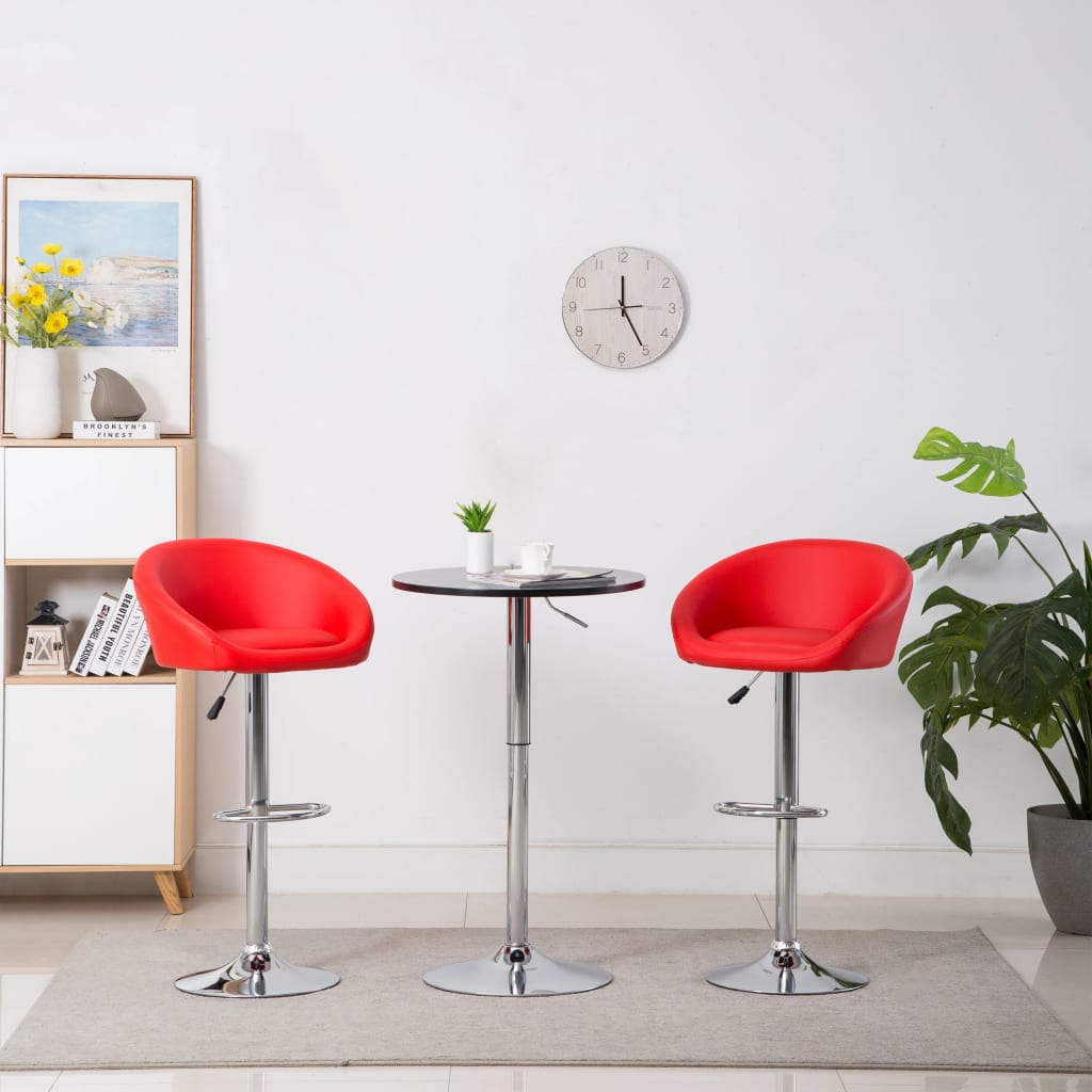 vidaXL Καρέκλες Μπαρ 2 τεμ. Κόκκινες από Συνθετικό Δέρμα