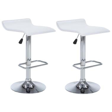 vidaXL Barové stoličky 2 ks, umelá koža, biele[2/9]