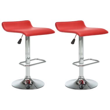 vidaXL Tabourets de bar 2 pcs Rouge Similicuir[2/10]