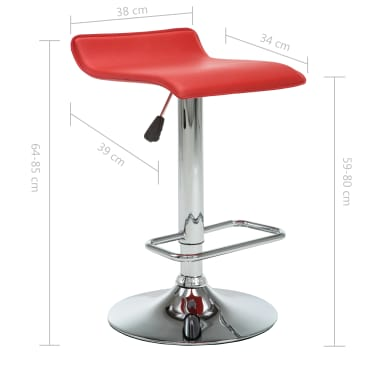 vidaXL Tabourets de bar 2 pcs Rouge Similicuir[10/10]