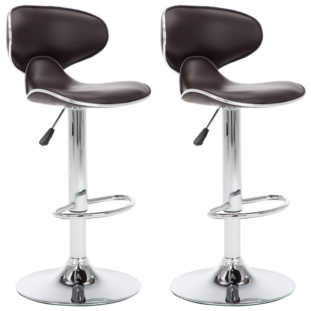vidaXL Καρέκλες Μπαρ 2 τεμ. Καφέ από Συνθετικό Δέρμα