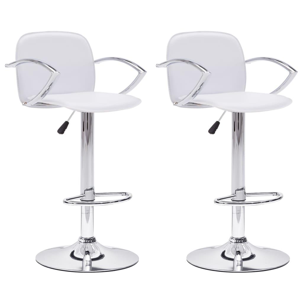 vidaXL Καρέκλες Μπαρ με Μπράτσα 2 τεμ. Λευκές από Συνθετικό Δέρμα