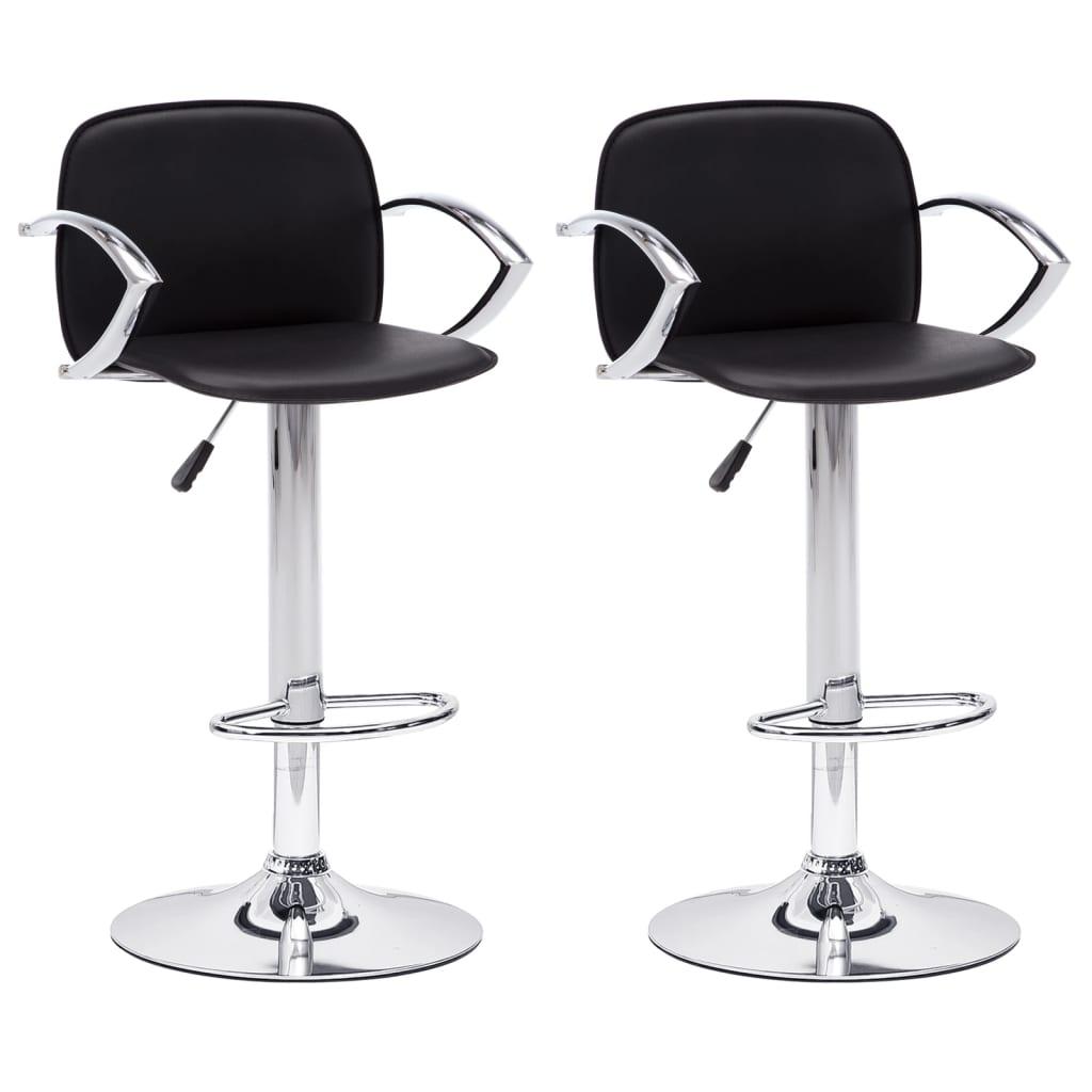 vidaXL Καρέκλες Μπαρ με Μπράτσα 2 τεμ. Μαύρες από Συνθετικό Δέρμα