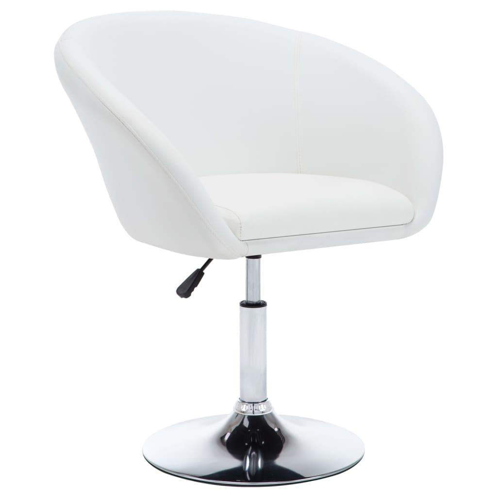 vidaXL Καρέκλα Τραπεζαρίας Περιστρεφόμενη Λευκή από Συνθετικό Δέρμα