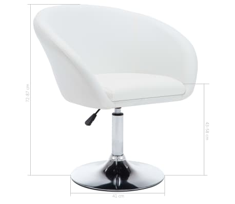 vidaXL Chaise pivotante de salle à manger Blanc Similicuir