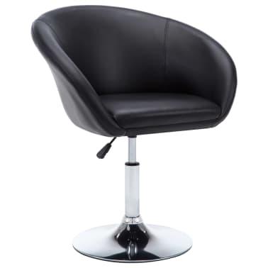 vidaXL Otočná jedálenská stolička, umelá koža 67,5x58,5x87 cm, čierna[2/9]