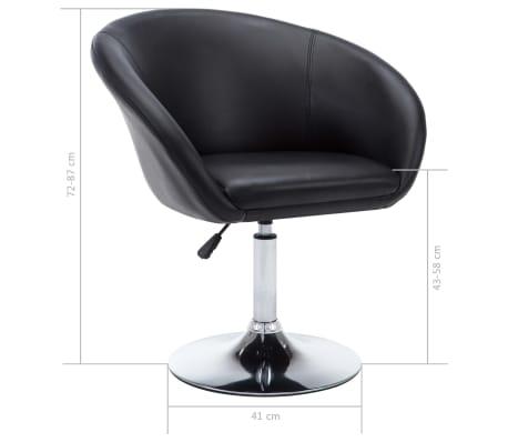 vidaXL Otočná jedálenská stolička, umelá koža 67,5x58,5x87 cm, čierna[9/9]