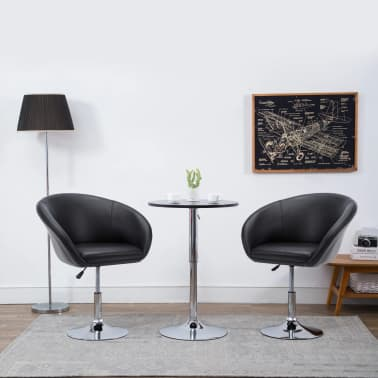 vidaXL Otočná jedálenská stolička, umelá koža 67,5x58,5x87 cm, čierna[1/9]