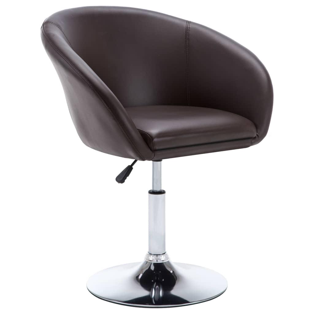 vidaXL Otočná jídelní židle z umělé kůže 67,5 x 58,5 x 87 cm hnědá